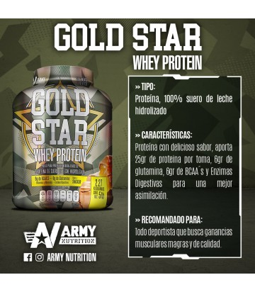 Gold Star Whey Protein 5lbs de Army Nutrition sabor Snickers