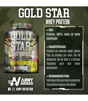 Gold Star Whey Protein 5lbs de Army Nutrition sabor Frutos Rojos